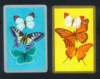 Six Beautiful Butterfly Playing Cards for Collage, Handmade Cards, Mixed Media, ATCs