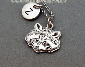 Raccoon charm necklace, racoon face charm, initial necklace, initial hand stamped, personalized, antique silver, monogram
