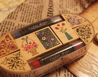 Lace Stamp Set -- Wooden Rubber Stamps -- Deco Stamps -- Style 2