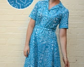 Blue Geometry Dress with Natural Waist