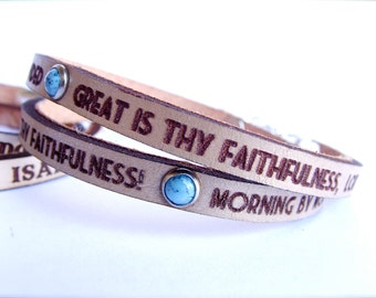 Great is thy Faithfulness Daily Reminder Leather wrap bracelet