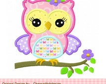 Cute spring girly owl 03 Applique,owl embroidery design -4x4 5x7 6x10-Machine Embroidery Applique Design