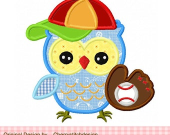 "Baseball owl Machine Embroidery Applique Design 02 -4x4 5x5 6x6"""