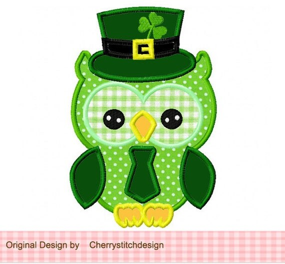 St Patrick's Day Owl 03 Applique Owl With Tie
