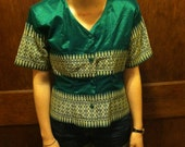 Vintage Green and Gold Metallic Asian Style Button Down Blouse