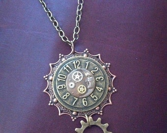 Steampunk Sun Moon Stars and Gears Necklace