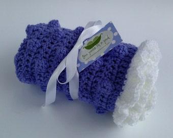 Baby Blanket - Crocheted Baby Blanket - Security Blanket/Lovey Size - Purple Bobble Blanket