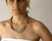 rope necklace with metallic beige, silver and gold yarn- statement metallic necklace - under 35