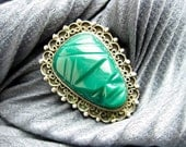 1950s Vintage Pendant, Carved Mexican Green Jade & Silver Filigree Aztec Mask.
