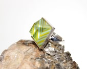 Chevron Table Faceted Glass Ring - Chartreuse and Blue - Fused Glass and Sterling Silver with Stripes Winter Fashion Jewelry No. 71