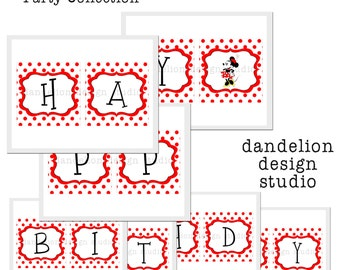 PRINTABLE Happy Birthday Banner - Retro Minnie Mouse Party Collection - Dandelion Design Studio