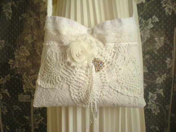 Small Lace Purse - Vintage Inspired Shabby Chic Hip Bag - Vintage Linens and Lace  - Bohemian Feminine - Romantic  - Victorian