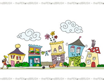 CLIP ART: Cute Houses // Row of Five Unique Hand drawn Houses // Scrapbooking // Website Design // Logo // Commercial Use