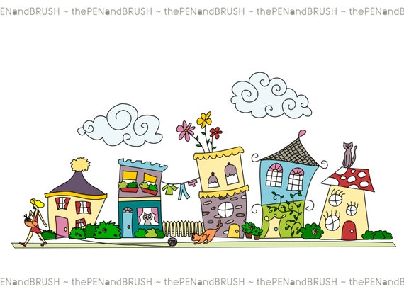 CLIP ART: Cute Houses // Row of Five Unique Hand drawn Houses