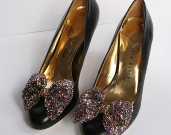 Pair of multi-colour glitter bow shoe clips, handmade shoe clips, multi-colour glitter material, pair of bow shoe clips