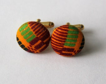 African Kente Fabric Cufflinks