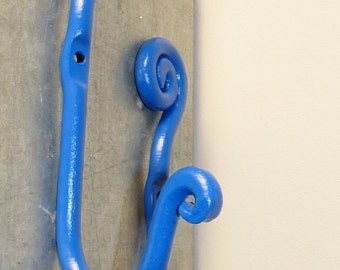 Wrought Iron Wall Hooks, Outdoor/Indoor Wall Decor, Blue Wall Hooks, Whimsical, ManCave, Kids Room Wall Decor, Coat Hook, Clothing Hooks
