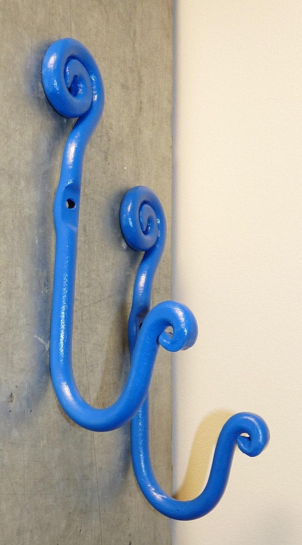 Wrought Iron Wall Hooks Outdoor Indoor Wall Decor Blue Wall