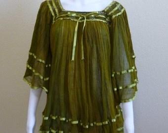 Green Peasant Top Dress Green Gauze BOHO Hippie Sheer Short Dress
