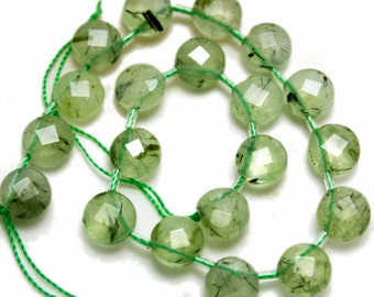 Prehnite top-drilled faceted coins.  Approx. 8mm.   Select a quantity.