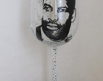 Hand Painted Wine Glass - DENZEL WASHINGTON, Actor, Film Producer and Film Director