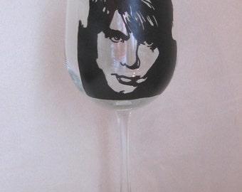 Hand Painted Wine Glass - JOHNNY RZEZNIK, Singer in Goo Goo Dolls Rock Band