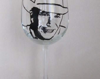 Hand Painted Wine Glass - GEORGE STRAIT, Country Music Singer, Music Producer, Actor