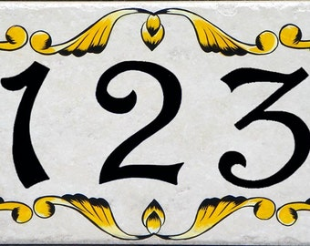 House number plaques, hand painted Italian house numbers, ceramic house numbers, house numbers, house sign, hand painted ceramic house signs