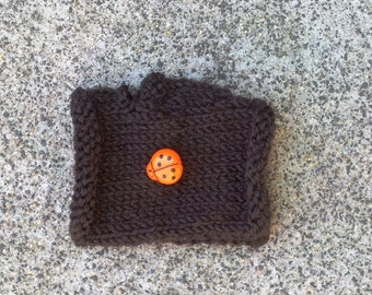 Toddler gloves, children fingerless gloves, Boys brown mittens. Orange lady bug button