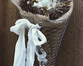 Wire Mesh Burlap Lined Cone Topped with Nest with Robin Egg  for French Country Cottage Wall Decor