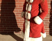 Vintage rusty red faux fur trimmed coat