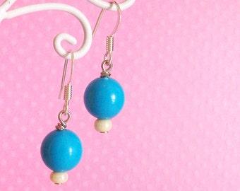 Kawaii Blue Bead Earrings, Cute Decora Jewelry for Women Girls and Teens