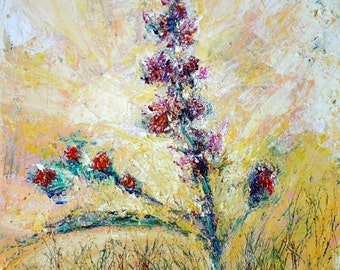 Textured Flowers Painting, Palette Knife Original Impressionist Acrylic Painting, Canvas Painting Aeris Osborne, Modern Wall Art