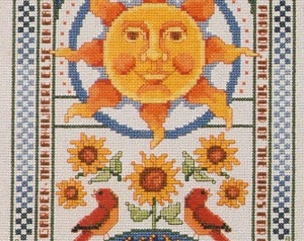 American School of Needlework Sun, Moon, and Stars Celestial Counted Cross Stitch Pattern Charted Design Needlework Rare Out of Print