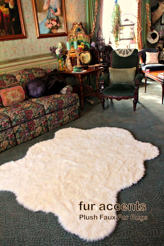 fur accents faux fur bear skin rug fake sheepskin by furaccents. Black Bedroom Furniture Sets. Home Design Ideas