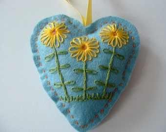 Blue Felt Heart Hanger with Hand Embroidered Flowers