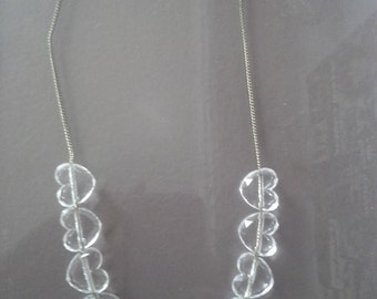 90s Clear Plastic Heart Necklace