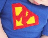 Superman Baby Custom Initial Superman Logo Infant Bodysuit blue, red, yellow