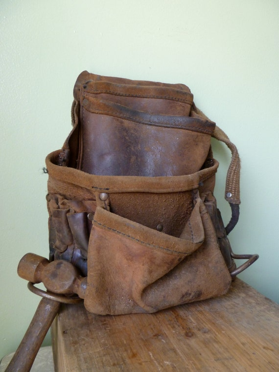 vintage leather tool belt carpenters toolbelt and vintage