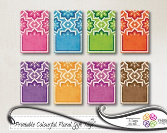 Printable Gift Tags Floral Note Cards Labels, instant download - Colorful Bright Floral for scrapbooking, card making