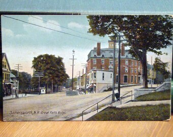 Vintage Postcard, Great Falls Hotel, Somersworth, New Hampshire, 1910s Paper Ephemera