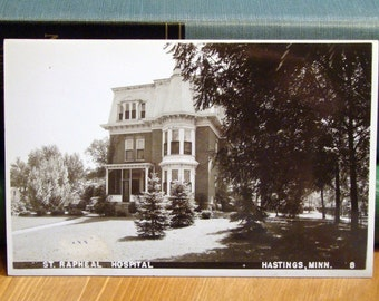 Vintage Postcard, St. Rapheal Hospital, Hastings, Minnesota, Early 1900s Real Photo Paper Ephemera
