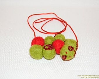 Green and Red, Felted necklace, Fresh apple green, Wool Bead necklace, Red beads, Felt balls necklace, Statement necklace, UFO necklace