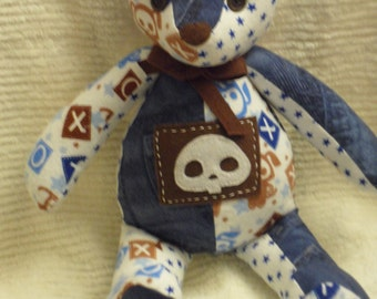 Handcrafted Skull Animals Denim Teddy Bear