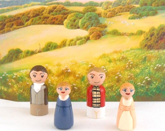 In Stock:  Sense and Sensibility Peg People