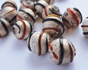Splatter Spray Painted Glass Beads, Metallic Silver, Black, Orange Destash Lot