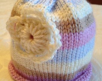 Striped Baby Hat (Size: Newborn)