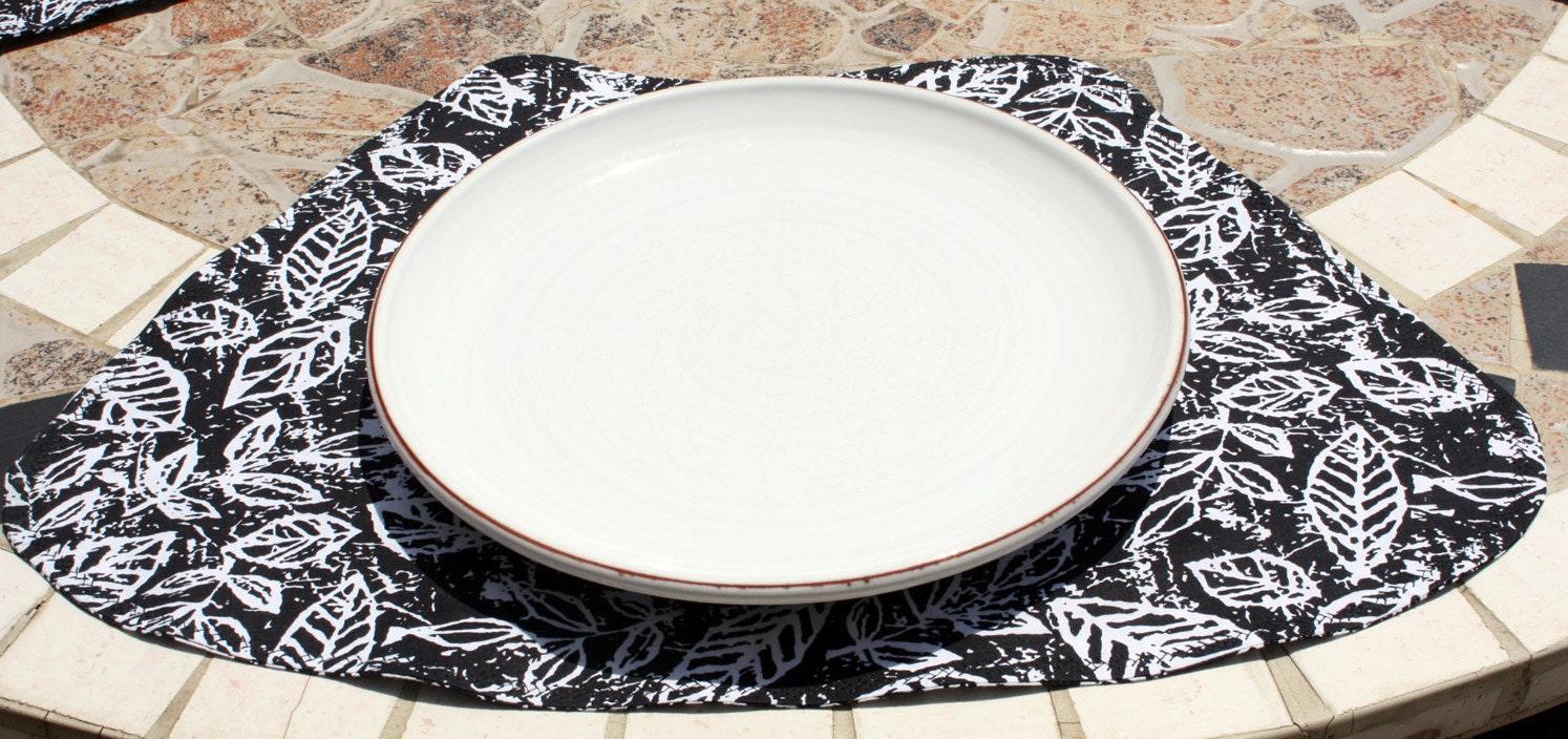 sale placemats for round tables batik leaves by pinkpaisleyds. Black Bedroom Furniture Sets. Home Design Ideas