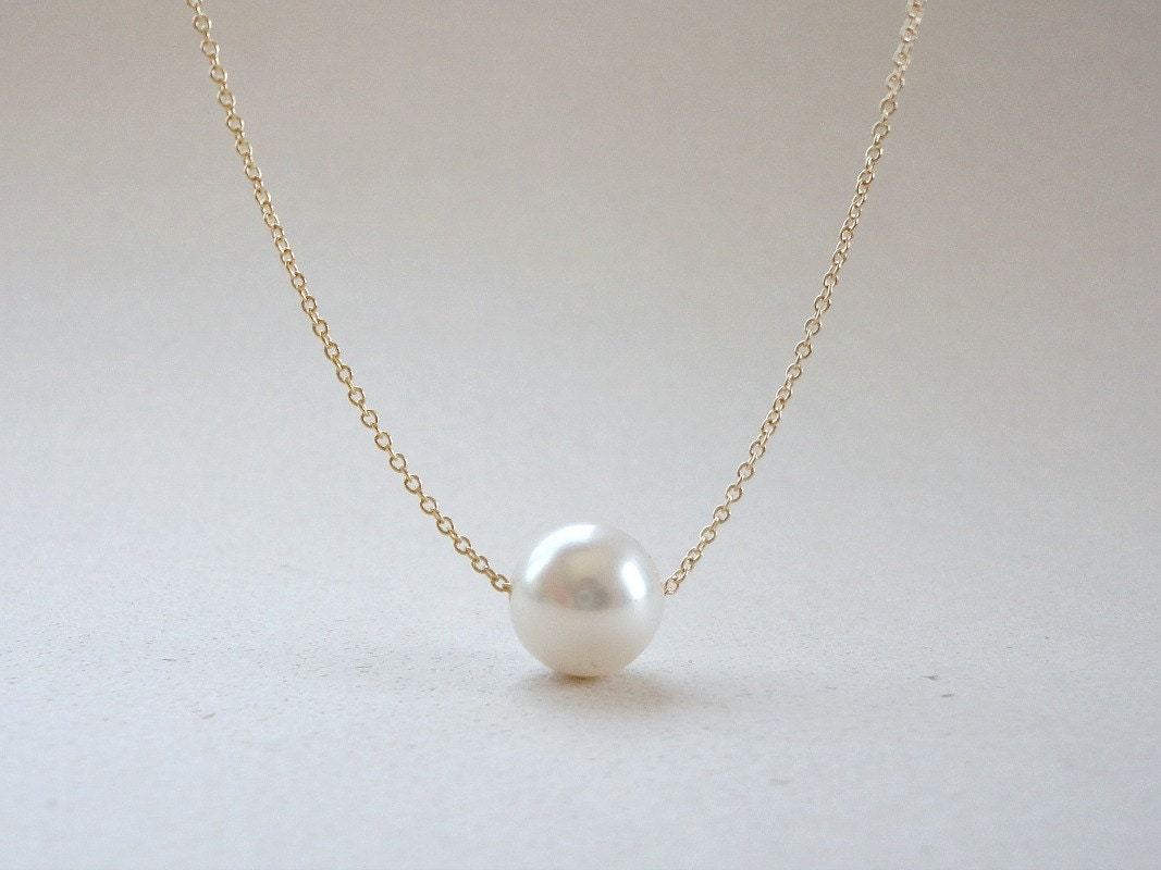 Single pearl necklace Floating pearl necklace Bridal pearl