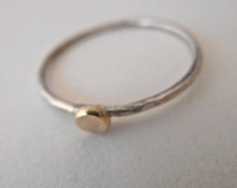 Silver / 18k large gold pebble stackable skinny ring,  18k 3mm pebble and Sterling silver made to order